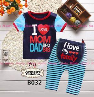 Baby Pyjamas - I Love Mom Dad Bro Sis B032