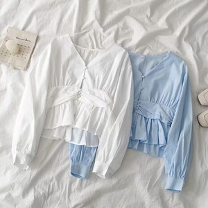 WHITE AND LIGHT BLUE CUTE TOP
