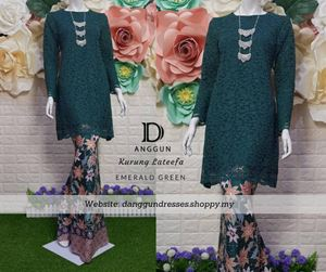 Kurung Lace Lateefa Emerald Green
