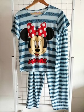 Pyjamas Dewasa Sky Blue Stripe Minnie Ribbon