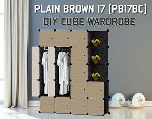 Plain Brown 17C DIY Wardrobe With Corner Rack (PB17BC)