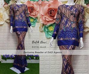 Kurung Batik Dewi Royal Blue