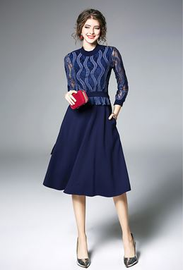 Slim Long-sleeved Lace A word dress