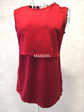 *Milk Silk* Sleeveless Nursing Inner (MAROON) Size Petite, Regular, Big