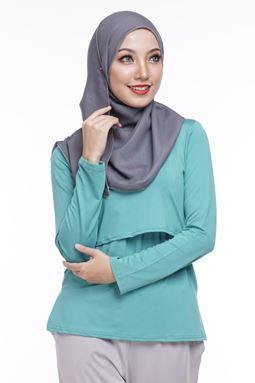 *Milk Silk* Long Sleeve Nursing Inner (Petronas Green) - Regular Only