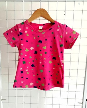 T-Shirt Short Sleeve BUTTERFLY LOVE HOT PINK: Size 1y-6y (1 - 6 tahun) TW