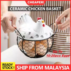Ceramic Chicken Egg Basket
