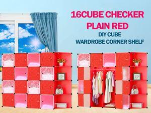 Plain Checker Red 16C DIY Cube w Corner Rack (BR16CR)