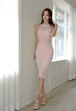 Pink Backless Lace Dress