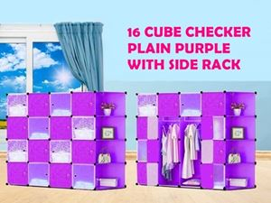 16 CUBE CHEKER PLAIN PURPLE WITH SIDE RACK