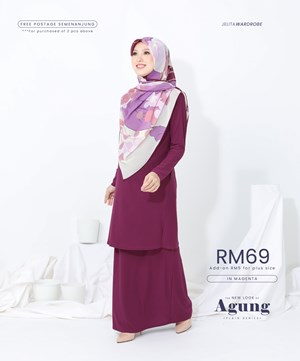 NEW LOOK AGUNG PLAIN IN MAGENTA (WITH POCKET)