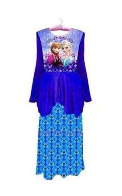 Frozen Peplum Kurung - Blue (1-12y)