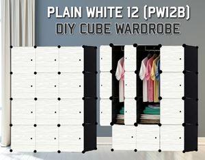 Plain White 12C Diy Wardrobe (PW12B)