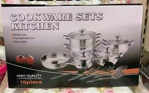 15PCS STEAMER COOKWARE SET STAINLESS  STELL