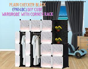 Plain Black 14C DIY Wardrobe With Corner Rack (PN14BC)