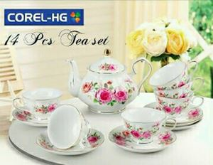 COREL-HG 14PCS TEA SET (GOLD LINING) - SWEET ROSES GOLD