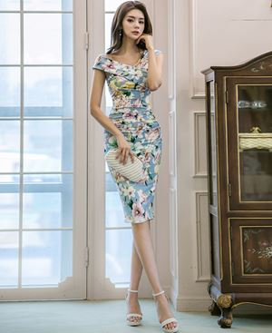 Cross V-Neck Sleeveless Slim Dress (Floral Dress)
