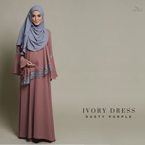Ivory Dress : Dusty Purple
