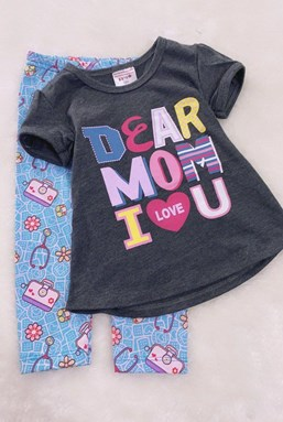 Girl Set GREY DEAR MOM WITH BLUE PANT (9/12m - 5y)