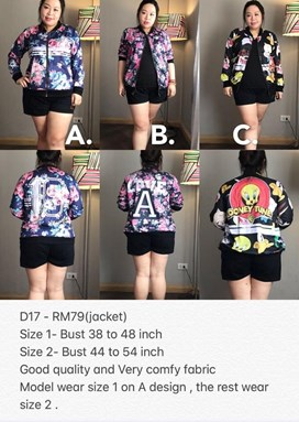 D17-B *Ready Stock Jacket *Bust 38-54 inch/96-137cm