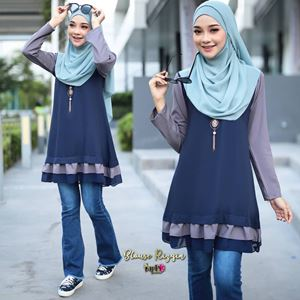 BLOUSE RIZQIN - DARKBLUE GREY