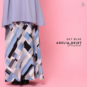 Adelia Skirt Printed : Sky Blue