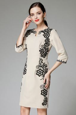 Flower Embroidered Apricot Dress