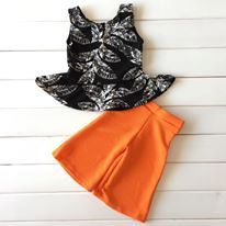 PALAZZO SET 024 ( BLACK TOP ORANGE  PANTS )