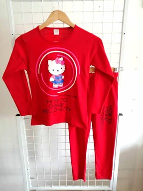 Pyjamas PLAIN HELLO KITTY DRAW Red - Long Sleeve (Big Size) 11/12y