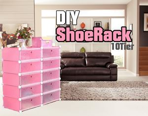 Plain Pink 10C DIY Shoerack (SR10P)