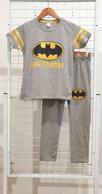SIZE 9/10 , 11/12 BIG KIDS Pyjamas PLAIN BATMAN GOLD Grey - Short Sleeve (Big Size) 9y-14y (KWF)