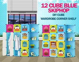 Skiphop Blue 12C DIY Cube w Corner Rack (SK12CB)