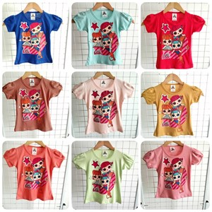 T-Shirt Girl Short Sleeve LOL Star: Size 2-8 (1 - 6 tahun)