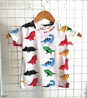T-Shirt Short Sleeve Dinosaurs White: Size 1y-6y (1 - 6 tahun) QK