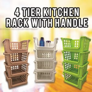 4 TIER KITCHEN RACK WITH HANDLE