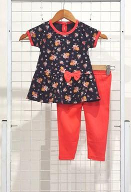 [SIZE 12/18M ] Baby Girl Set : MIX FLOWER BLUE BLACK WITH ORANGE PANT (9m - 36m) SPG