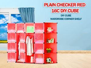 Plain Red 16C DIY Cube w Corner Rack (PR16CR)