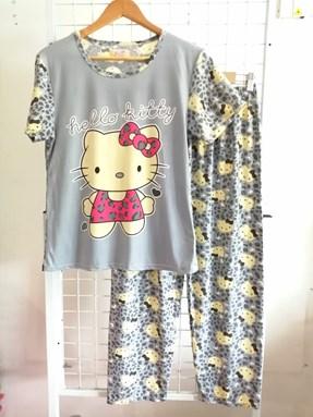 Pyjamas Dewasa Grey Hello Kitty Pink Ribbon