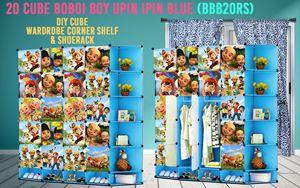Boboiboy & Upin Ipin Blue 20Cube DIY Cube w Corner Rack & Shoerack (BBB20RS)