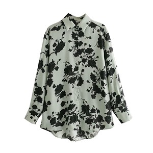 INSPIRED GREEN AND BLACK FLORAL PRINTS TOP