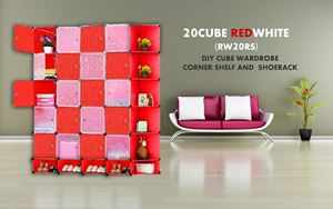 20Cube Red White DIY Cube w Corner Rack & Shoerack (RW20RS)