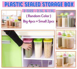 PLASTIC SEALED STORAGE BOX SET (Big 4 + Small 2) -Random Color