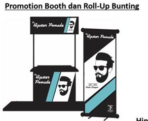 Hipster Pomade Promotion Table + Roll-up Bunting
