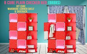 Plain Checker Red 8C DIY Cube w Corner Rack & Shoerack (BR8RS)