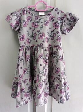 Princess Dress : Design Grey with PinkPurple Flower size 2-4, 4-6