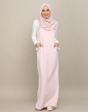 ADELINE OVERALL DRESS IN SOFTPINK