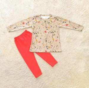 [SIZE 3/4Y] Girl Set Long Sleeve : SCARLET BEIGE WITH ORANGE RED PANT (3y - 8y) SPG