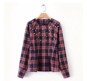 RAGLAN SLEEVES BEADED PLAID SLIM TOP