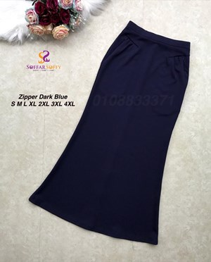 ZIPPER SKIRT DARK BLUE