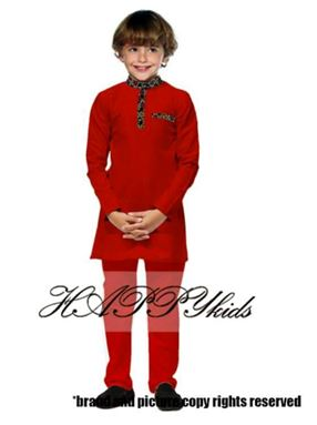 Kurta Raya Songket For Boy - Merah